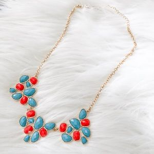 Teal/Coral Statement Necklace